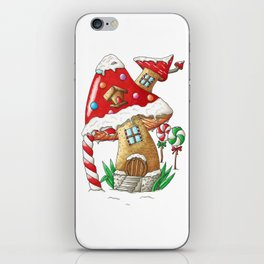 Mushroom gingerbread house iPhone Skin