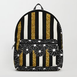 Black Daisies with Gold Glitter Stripes Backpack