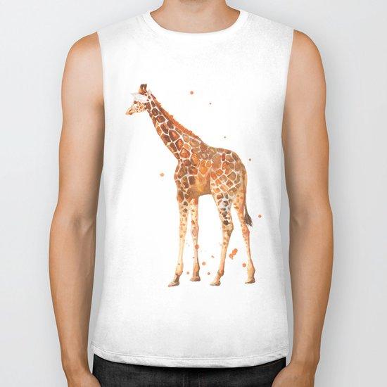giraffe, african animals, wildlife, cute baby giraffe, nursery animals, safari Biker Tank