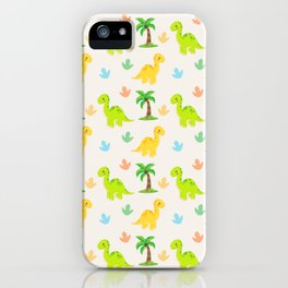 Cute Dinosaur Nursery Illustration – Yellow and Green Brontosaurus iPhone Case