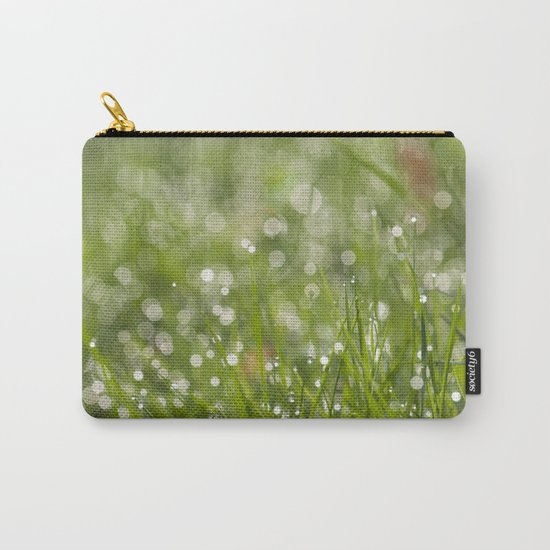 Fresh green meadow - Green grass with waterdroplets sparkling in the sun on #Society6 Carry-All Pouch