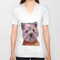 westie V-neck T-shirts featuring West highland terrier Westie dog love by Gooberella