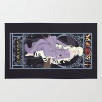 the last unicorn Area & Throw Rugs featuring Amalthea Nouveau - The Last Unicorn by CaptainLaserBeam