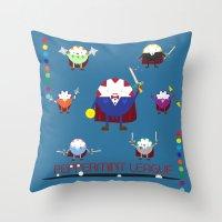 league Throw Pillows featuring Peppermint League by Carieo's Creation