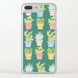 Succulents and Cactus Party Clear iPhone Case