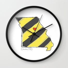 Home Is Where The Heart Is: Columbia, MO Wall Clock