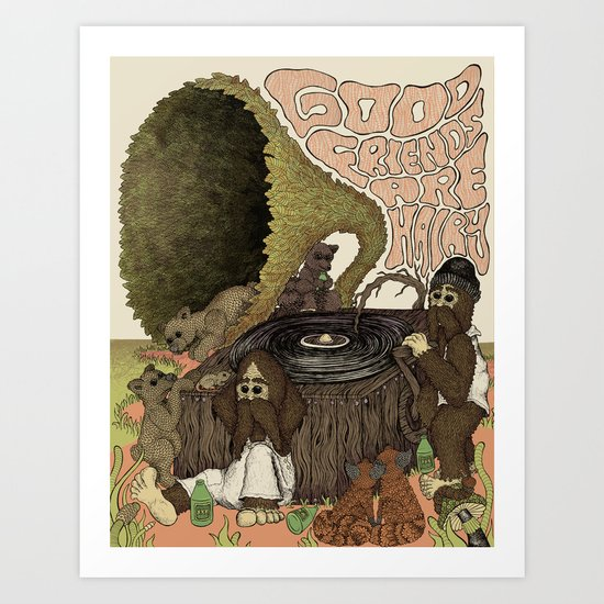 Good Friends Are Hairy Art Print