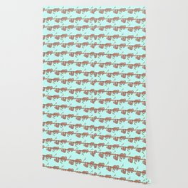 Lazy Baby Sloth Pattern Wallpaper