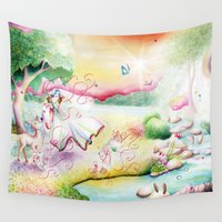 fairy tale Wall Tapestries featuring Fairy Tale by Julie Edwards