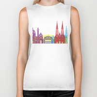 vienna Biker Tanks featuring Vienna skyline pop by Paulrommer