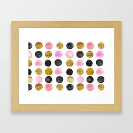 Chic Painted Circle Pattern - Black, Gold, Pink Framed Art Print