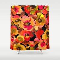peach Shower Curtains featuring peach  floral by Ariadne