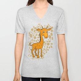 Giraffe - Sepia Brown Unisex V-Neck