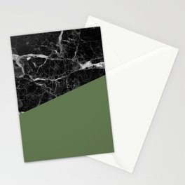 Black Marble and Kale Color Stationery Cards