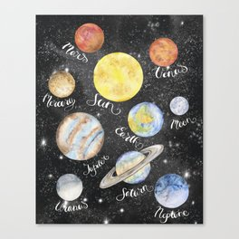 Watercolor Planets Names Canvas Print