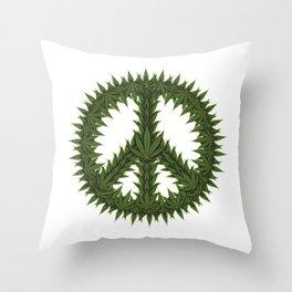 Weed Peace Sign - Marijuana THC CBD Stoner Throw Pillow