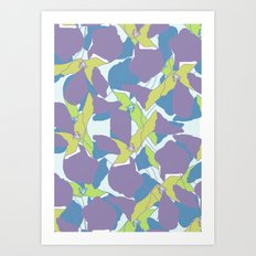 Blocked Flowers Art Print