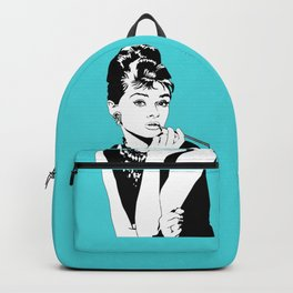 Audrey Hepburn as Holly Golightly with diamond background Backpack