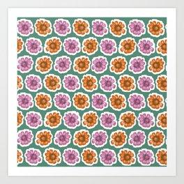 Daisy Floral Pattern Green Orange Purple Art Print
