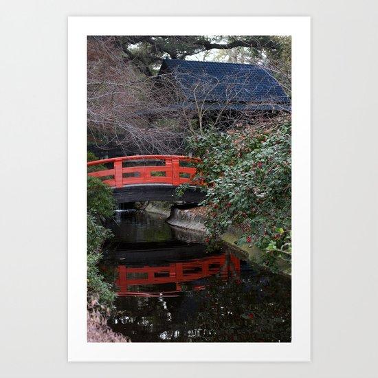 Japanese garden bridge Art Print