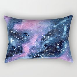 Twinkling Pink Watercolor Galaxy Rectangular Pillow