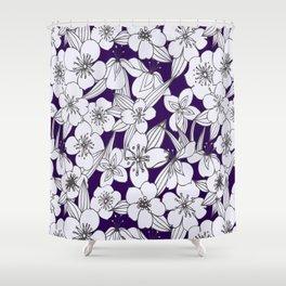 Hand painted modern black white indigo floral pattern Shower Curtain