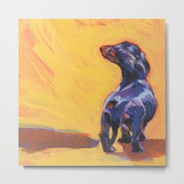 DACHSHUND Dog doxie portrait bright colorful Pop Art Painting by LEA Metal Print