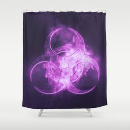 Biohazard sign. Biohazard symbol. Abstract night sky background Shower Curtain