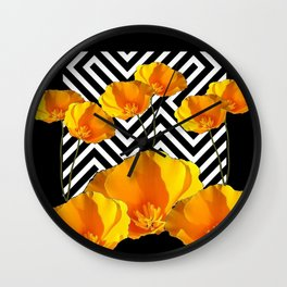 BLACK & WHITE CALIFORNIA YELLOW POPPIES ART Wall Clock