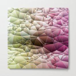 Quilted Pattern Pinks and Mint Green Pastel Design Metal Print