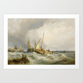 STANFIELD, CLARKSON 1793 Sunderland - 1867   Returning Fisherman in front of the Coast. Art Print