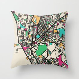 Colorful City Maps: Manila, Philippines Throw Pillow