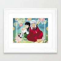inuyasha Framed Art Prints featuring Inuyasha & Kagome by Neo Crystal Tokyo