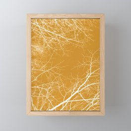 Branches Impressions on Yellow Framed Mini Art Print