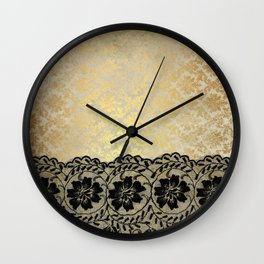 Black floral luxury lace on gold damask pattern Wall Clock