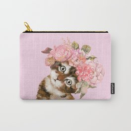 Baby Cat with Flower Crown Carry-All Pouch