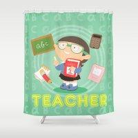 teacher Shower Curtains featuring teacher by Alapapaju