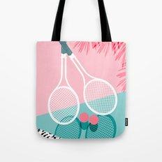 Sportin' - retro minimal pastel neon throwback memphis style pop art tennis sport court player Tote Bag