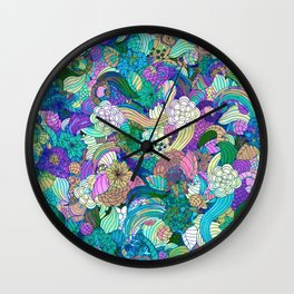 Colorful Wild Flowers Collage Wall Clock