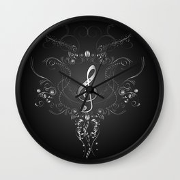 Clef with floral elements Wall Clock