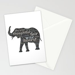 Elephant with words Stationery Cards