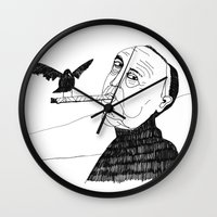 hitchcock Wall Clocks featuring Hitchcock by Elena Éper