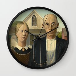 American Gothic by Grant Wood Wall Clock