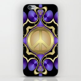 Purple Satin Golden Peace iPhone Skin