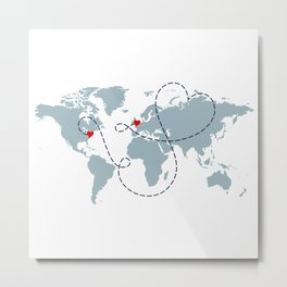 Long Distance World Map - UK to New York Metal Print