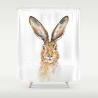 hare Shower Curtains featuring HARE by Patrizia Ambrosini