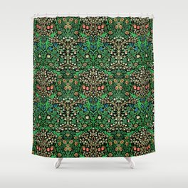 William Morris Jacobean Floral, Black Background Shower Curtain