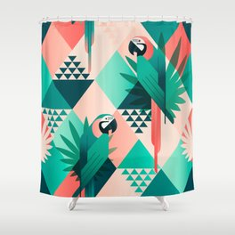 Colorful Geometric Birds I Shower Curtain