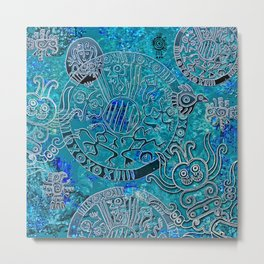 Aztec blues Metal Print