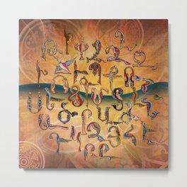 Armenian Birds Alphabet Metal Print